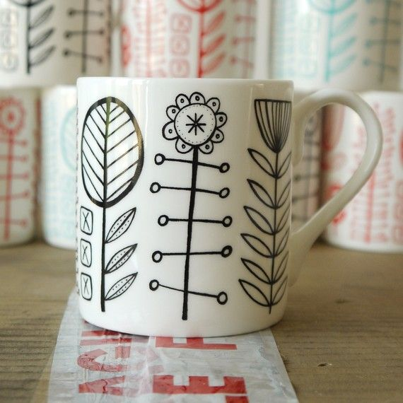bloomsbury bone china mug in black by summersville on etsy diy pinterest porzellan. Black Bedroom Furniture Sets. Home Design Ideas