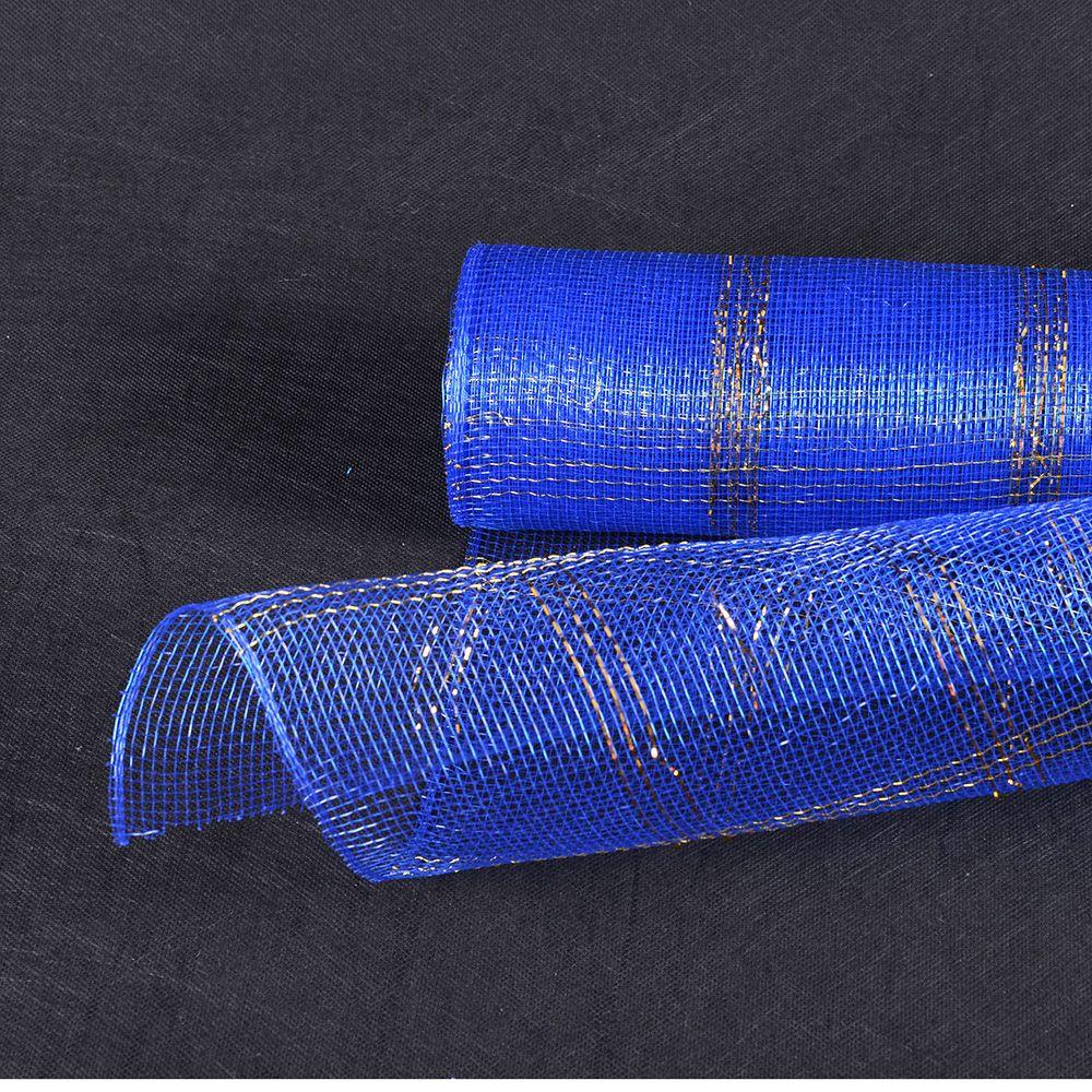 Floral Mesh - Royal Blue - Floral Mesh Wrap Metallic Gold Chex De