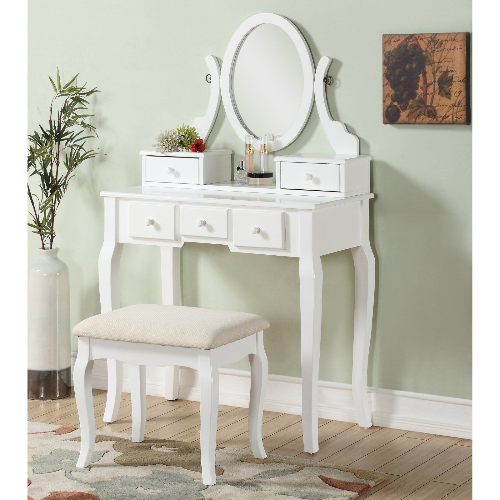 Roundhill Furniture Ashley Wooden Bedroom Vanity And Stool Set White