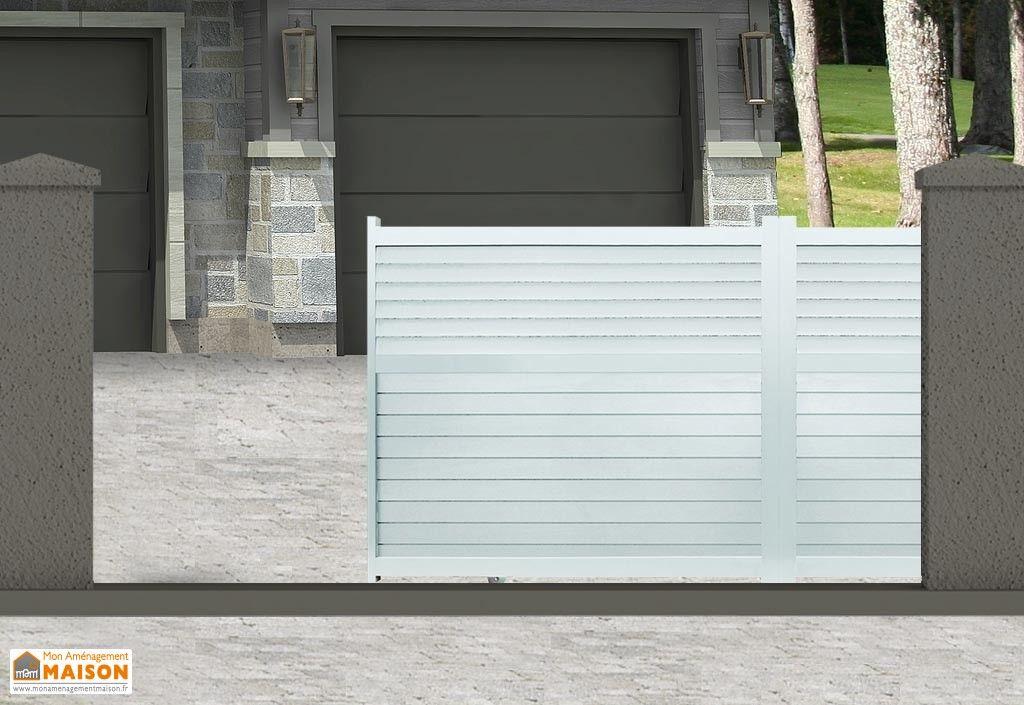 portail en aluminium peint en blanc avec ouverture coulissante - motorisation portail battant ouverture exterieure