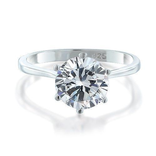 Bling Jewelry 925 Sterling Silver Round CZ Solitaire Engagement Ring NbGROQ23