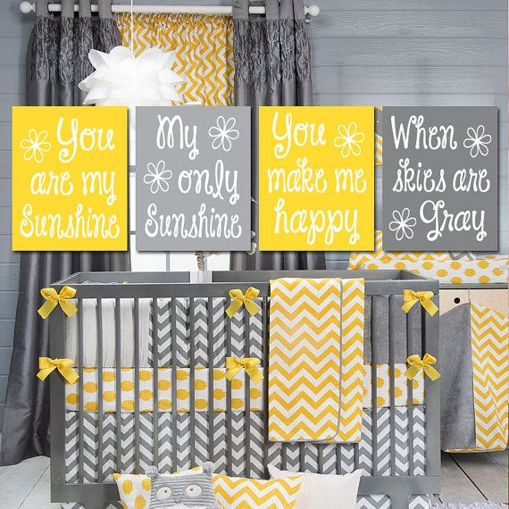 Yellow Gray You Are My SUNSHINE Wall Art, CANVAS or Prints Baby Girl ...