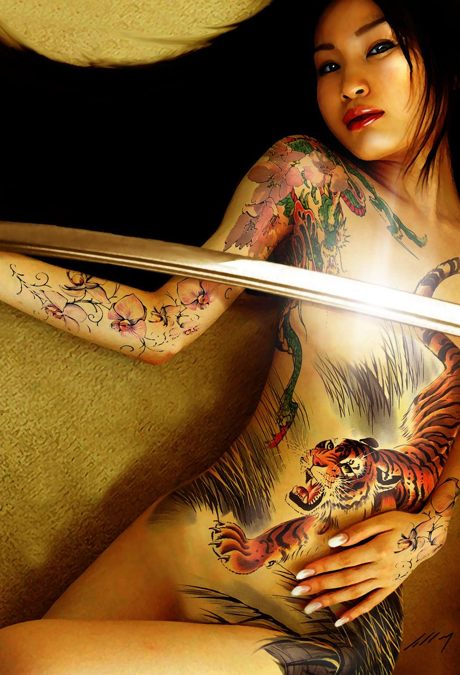 Nude fantasy tattoos for females