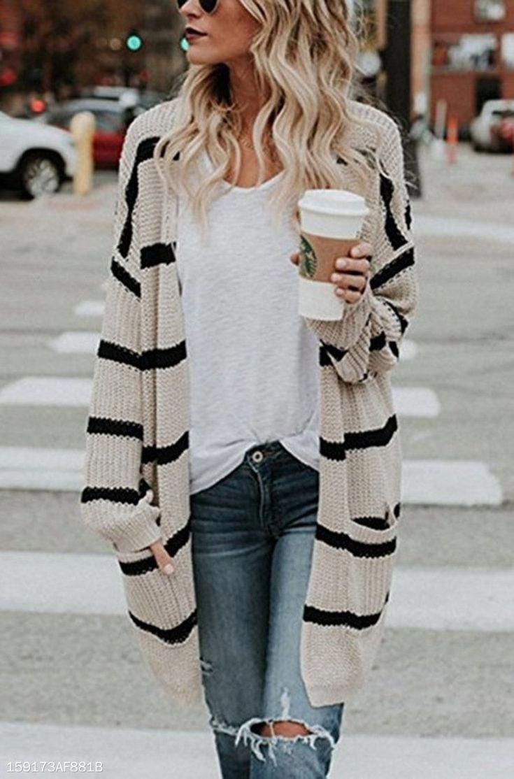 Photo of Loose Fitting  Striped  Basic Cardigans