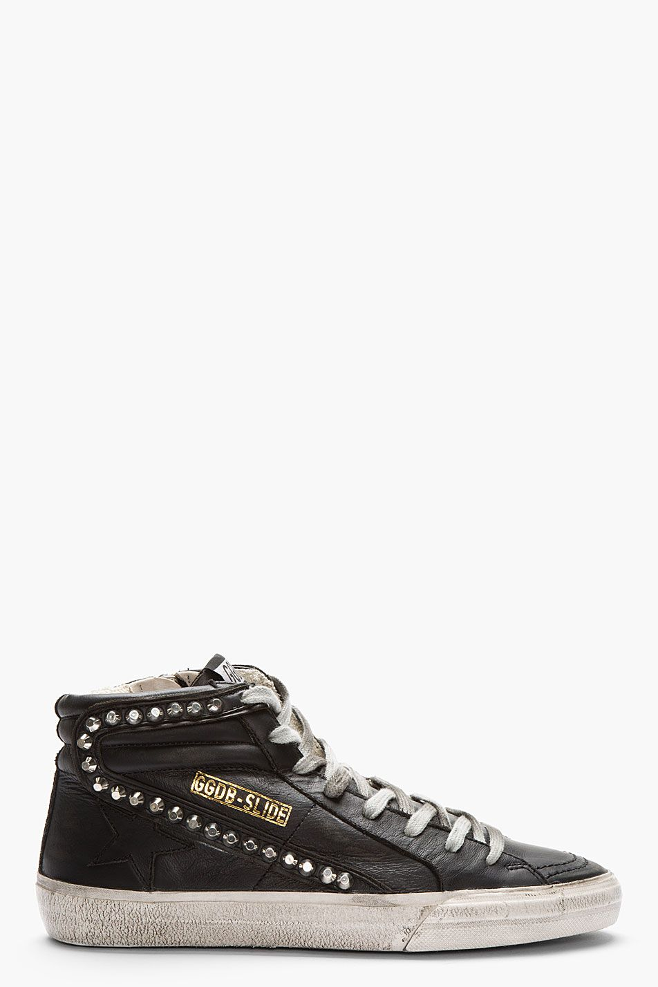 Golden Goose Black Leather Studded Slide Sneakers