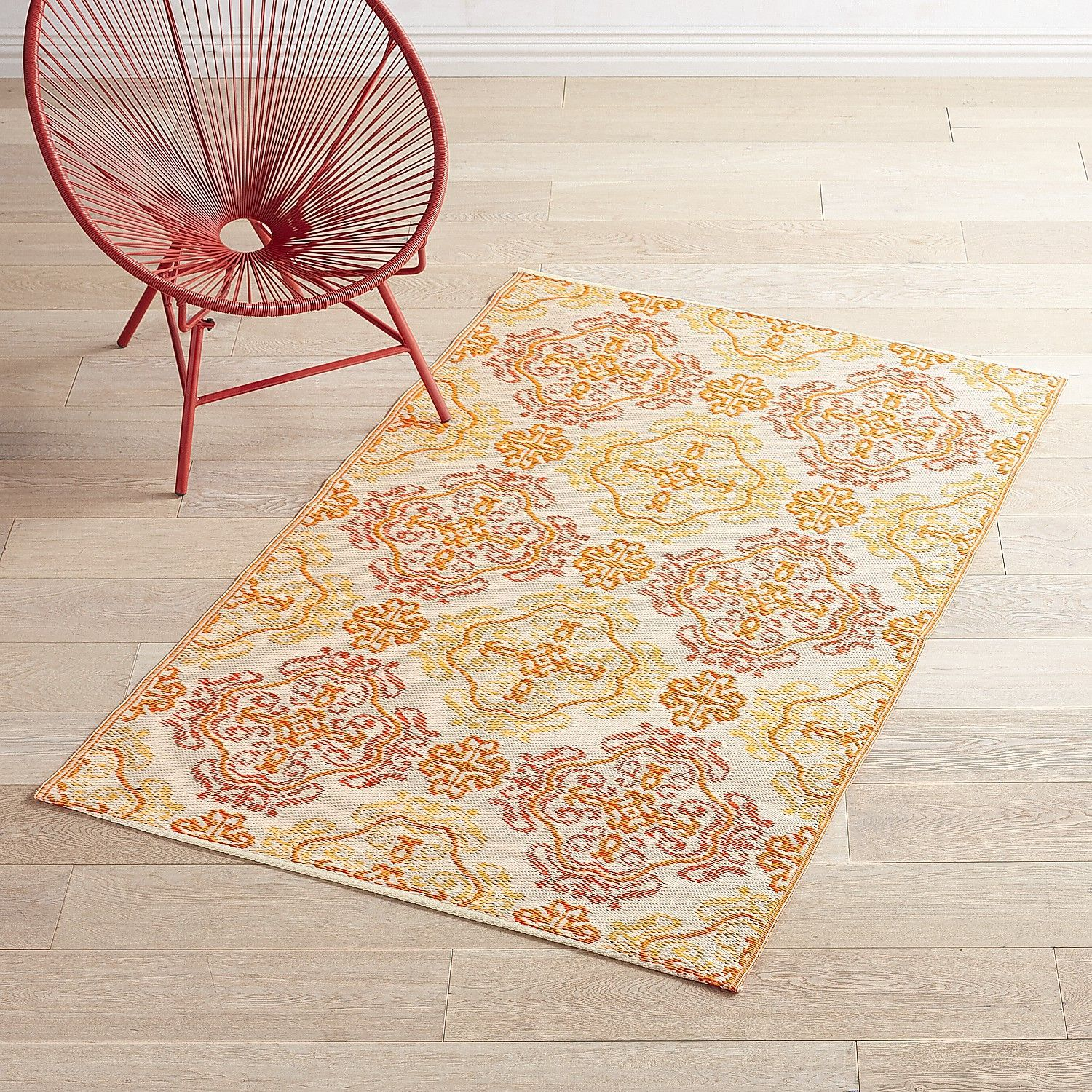 Superb Plastic Orange Tile Medallion 4x6 Rug Design Ideas