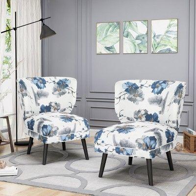 Best Set Of 2 Desdemona Modern Farmhouse Accent Chair Blue 400 x 300