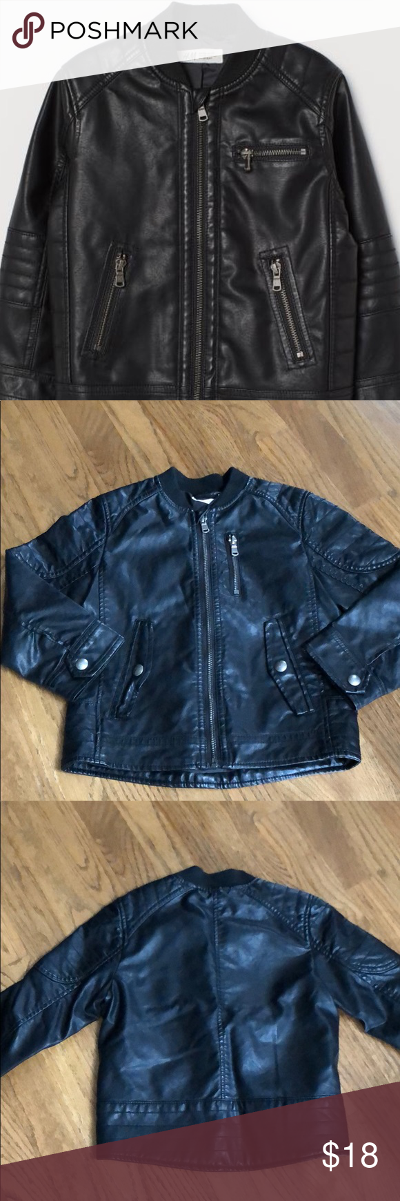 Boys size 45 faux leather jacket from H&M Leather