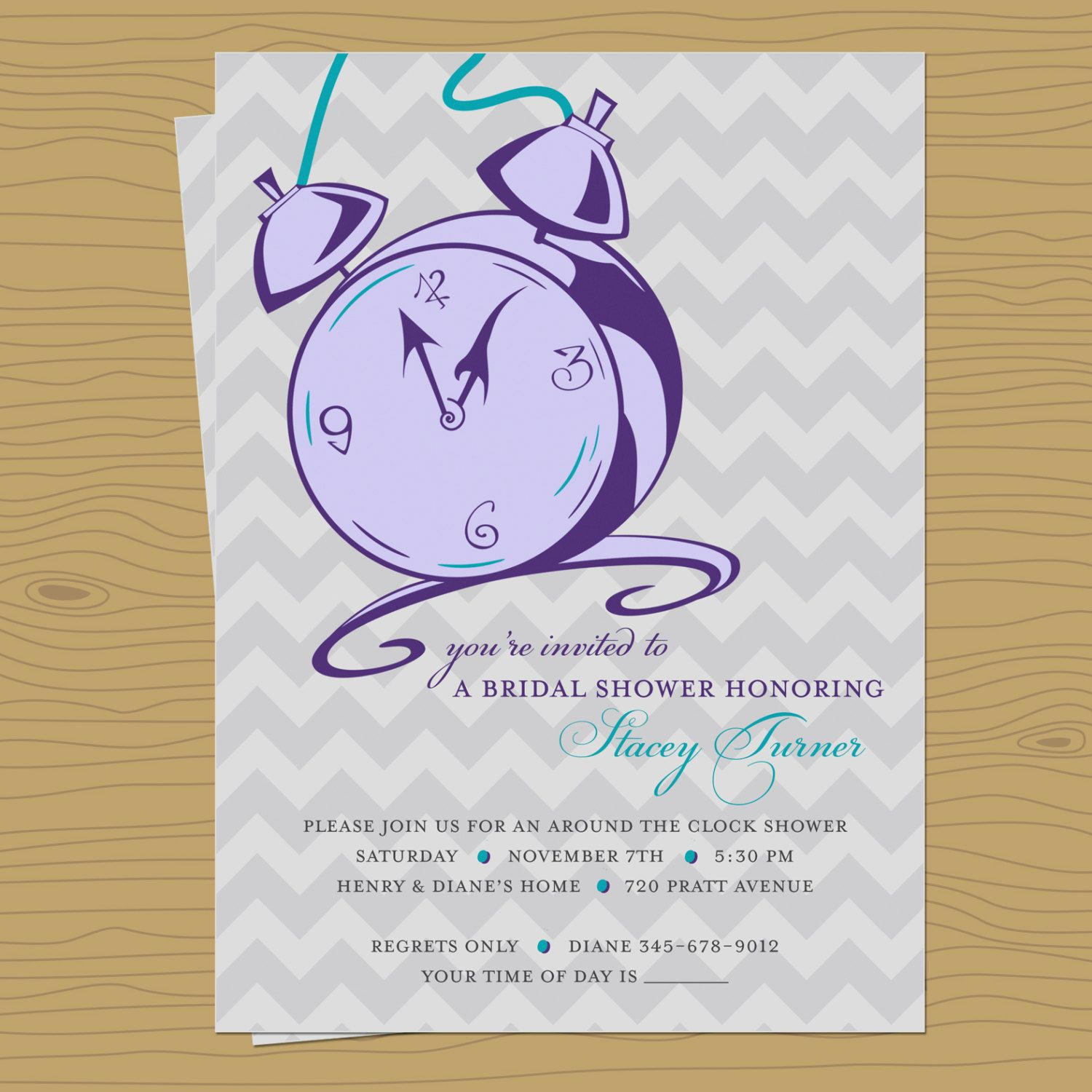 Modern Around the Clock Bridal Shower Invitation 1500 via Etsy