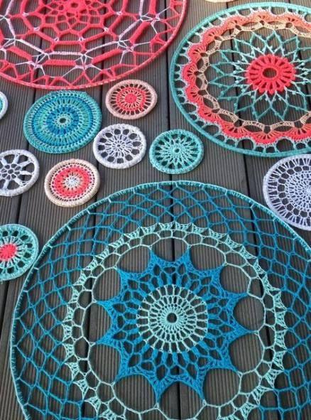 35 ideas crochet mandala pattern free doilies dream catchers #crochetmandalapattern