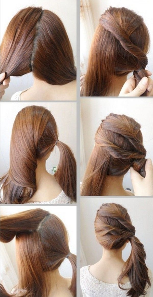 Side Twist Ponytail For College University Girls   Easy hairstyles for long hair, Ponytail ...