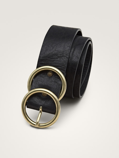 Leather Belt With Double Metal Buckle Women Massimo Dutti Kemer