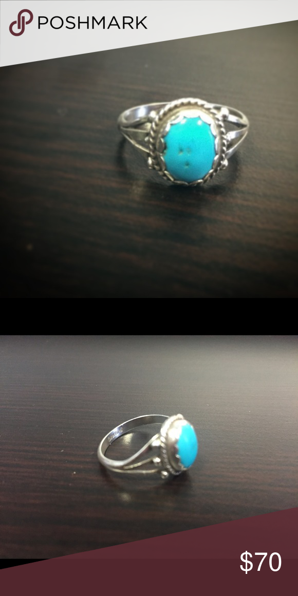 Real Turquoise Ring 100% Turquoise 100% Sterling Silver Jewelry Rings