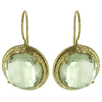 14K Yellow Gold Green Amethyst 12mm Round Dangle Earrings