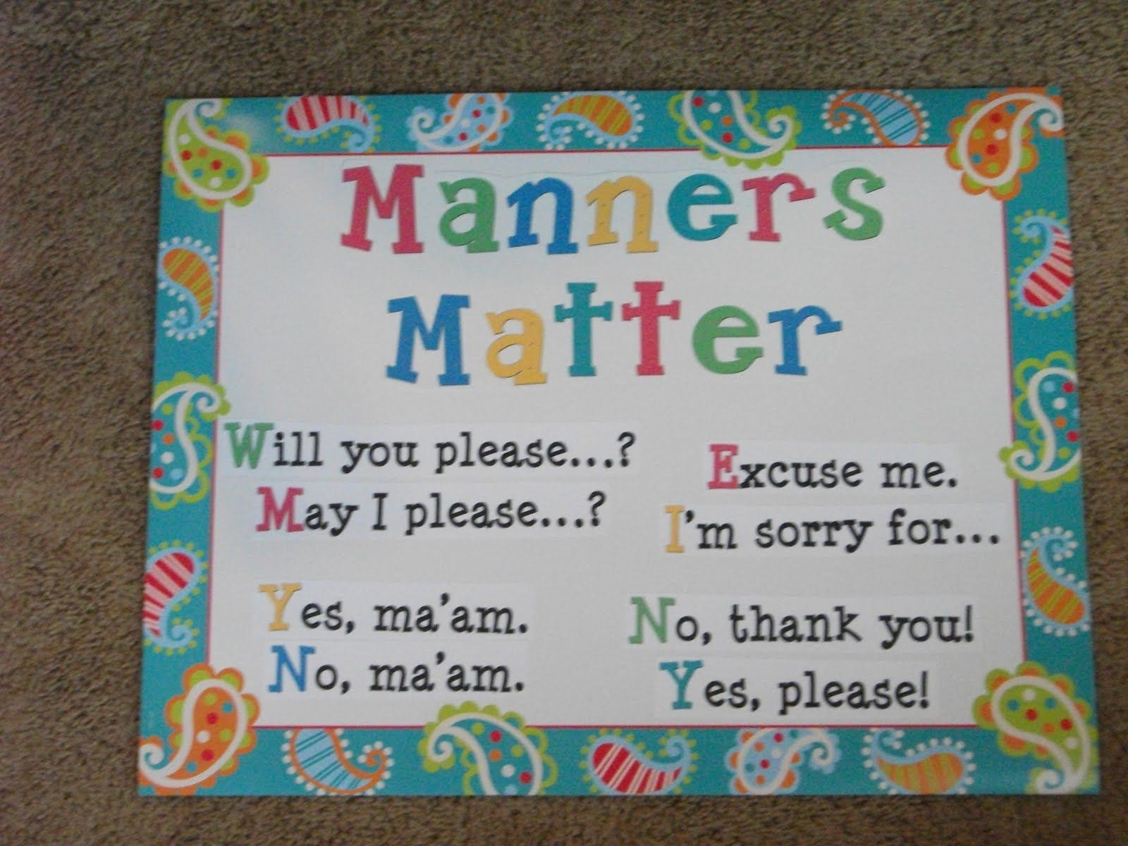 Classroom Manners Expectations Victoria James Wise