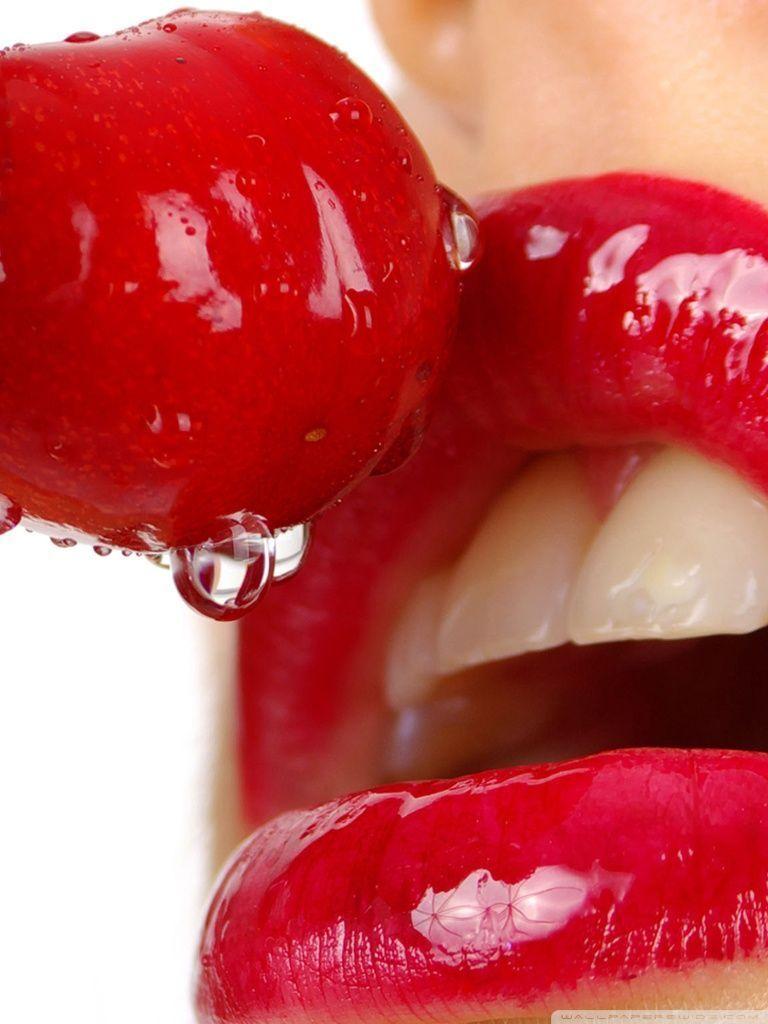 Cherry Lips Hd Desktop Wallpaper Widescreen High Definition