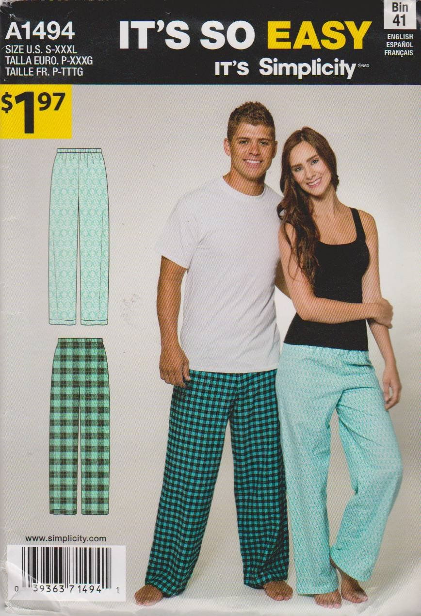 443966a9048a Simplicity Sewing Pattern A8203 8203 Easy Women s Mens Sizes S-XXXL Tops  Pajama Pants Simplicity+Sewing+Patte…