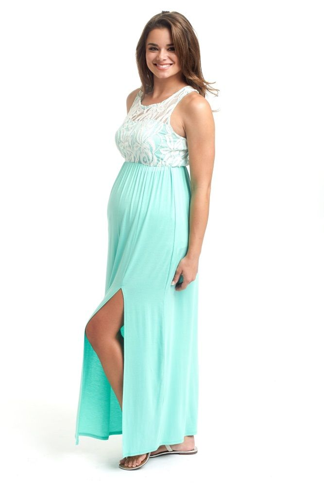 2d650fdba5587 Mint Green Lace Top Maternity Maxi Dress | My Style | Green lace top ...