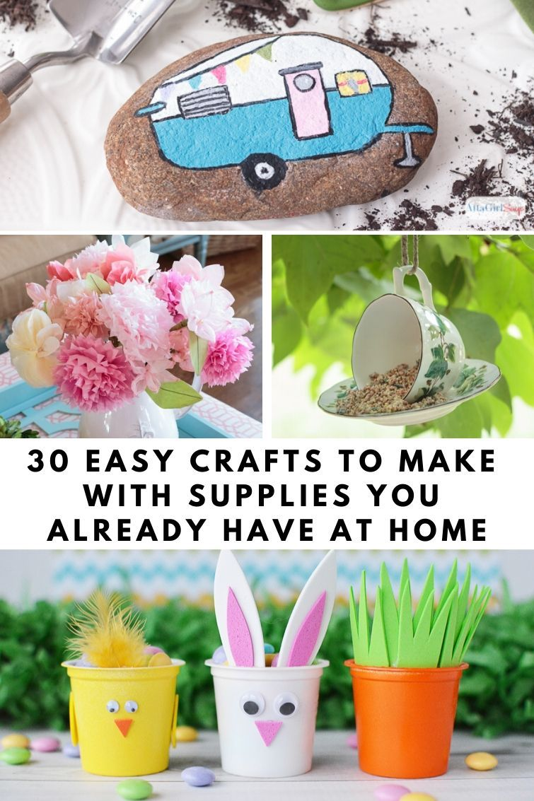 Stuck at home? Struggling to keep the kids entertained or to fill your time? Here are 30 crafts you can make with basic supplies you already have on hand, including things you'd normally throw in the trash or recycling bin. This roundup includes projects for adults and kids alike and offers substitutions you can use if you're missing any supplies. No need to run out to the craft store or place an online order.   Easy Crafts   Kids Crafts   Upcycled Crafts #upcycling #recycling #easycrafts #craft