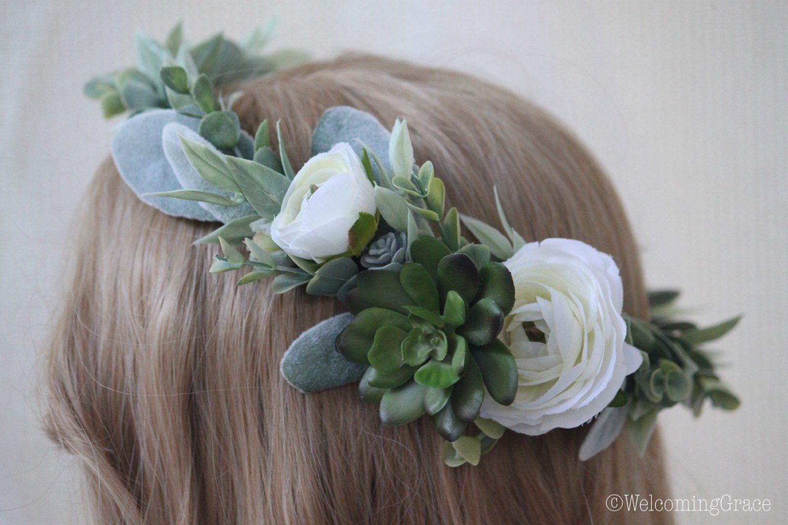 Succulent Flower Crown White Succulent Crown Ranunculus Flower Crown Wedding Bridal Floral Succulent Crown Flower Crown Wedding Flower Crown White Floral Crowns