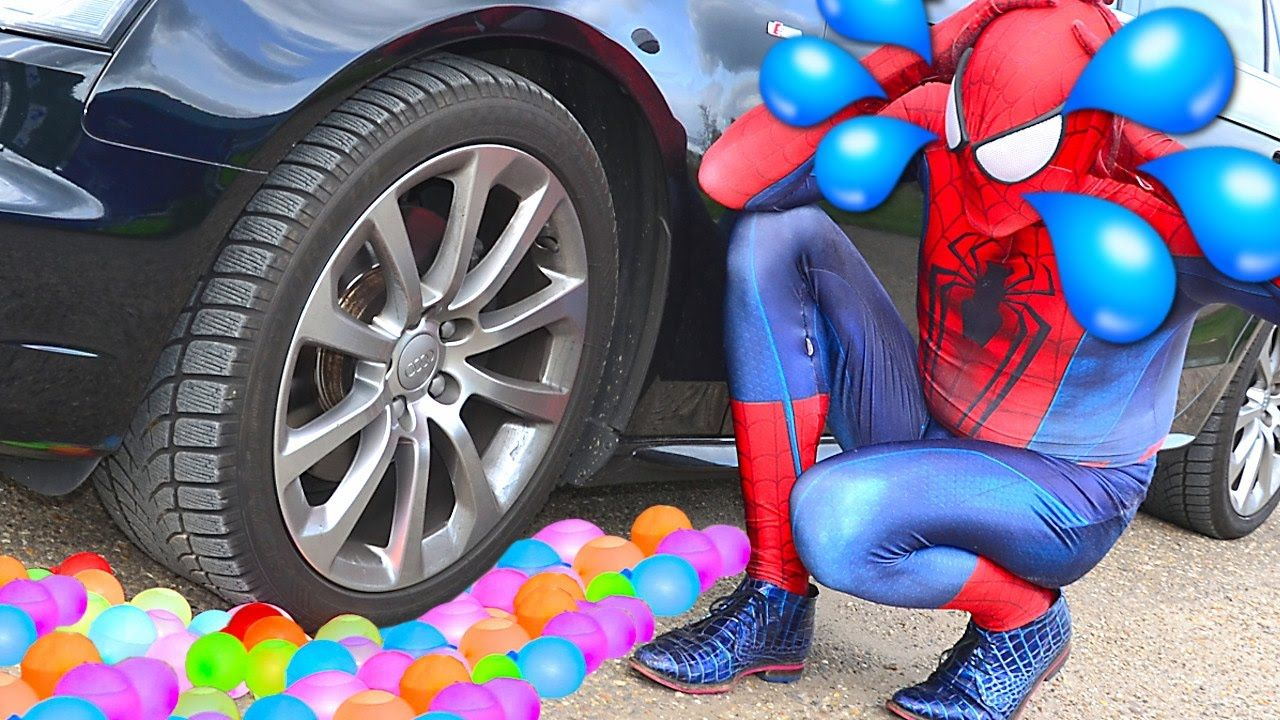 Spiderman's Water Baloon Color was crushed under car