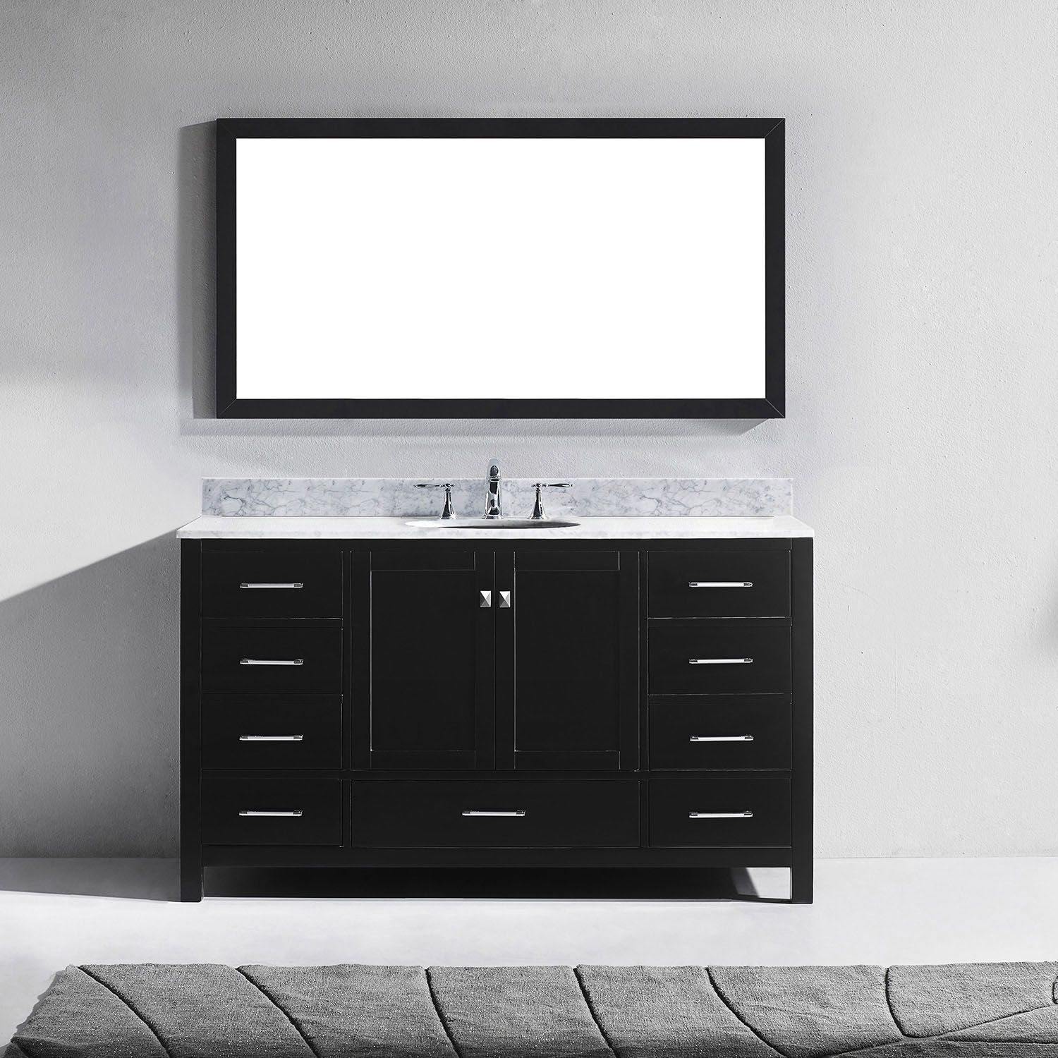 Virtu USA Caroline Avenue 60 inch White Marble Single Bathroom