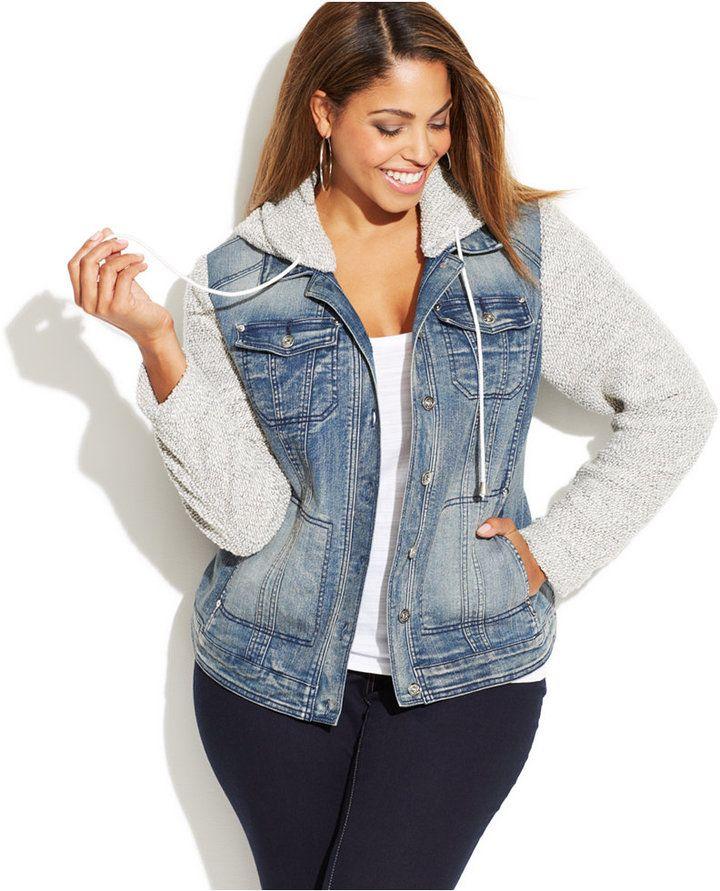703c6c270ec Plus Size Denim Hoodie Jacket