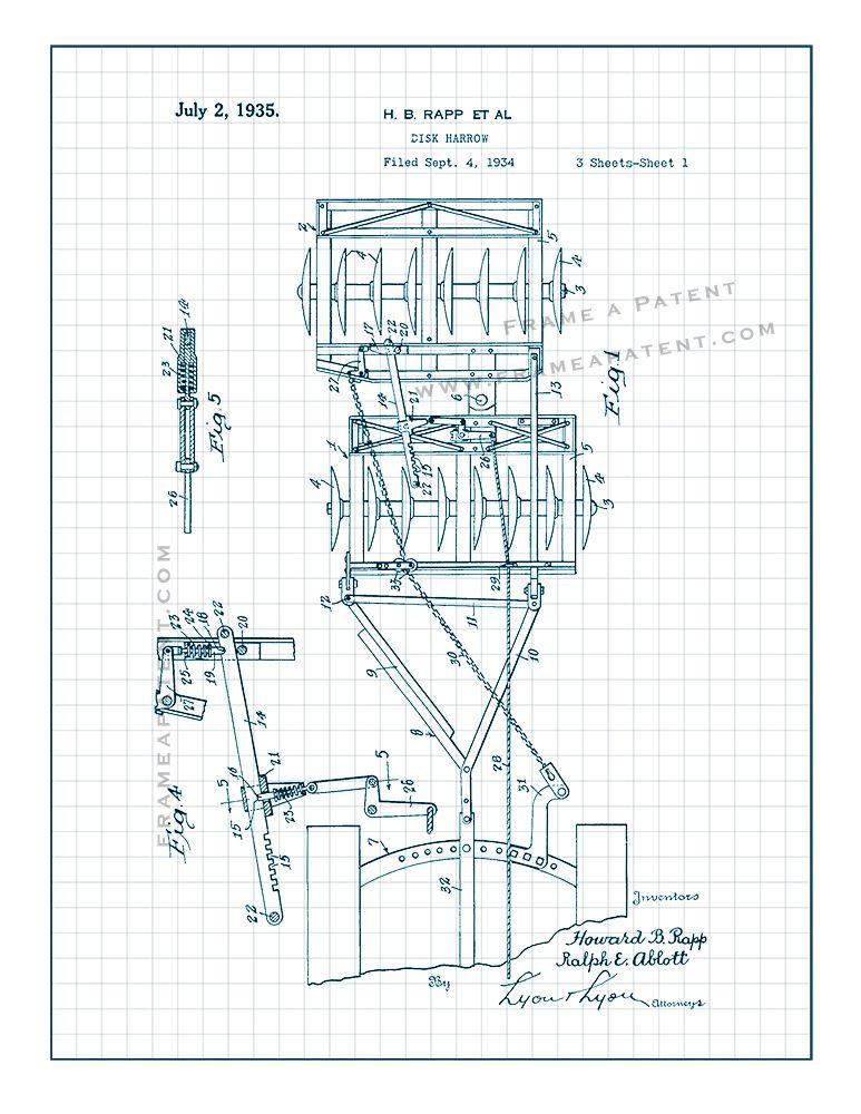 Idea de Frame a Patent en Farming Patent Prints Tractor