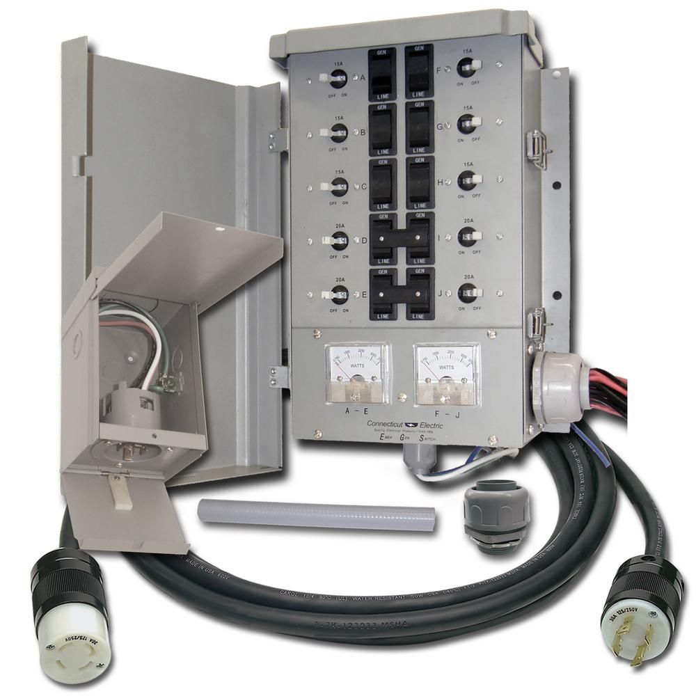 Connecticut Electric 30 Amp 8 Space 10 Circuits G2 Manual Transfer Switch Kit Egs107501g2kit The Home Depot Transfer Switch Generator Transfer Switch Portable Generator