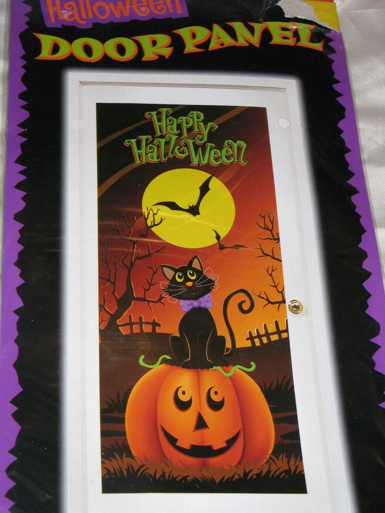 NEW HAPPY HALLOWEEN PARTY DECOR DOOR MURAL COVER SCENE SETTER 6 - halloween scene setters decorations