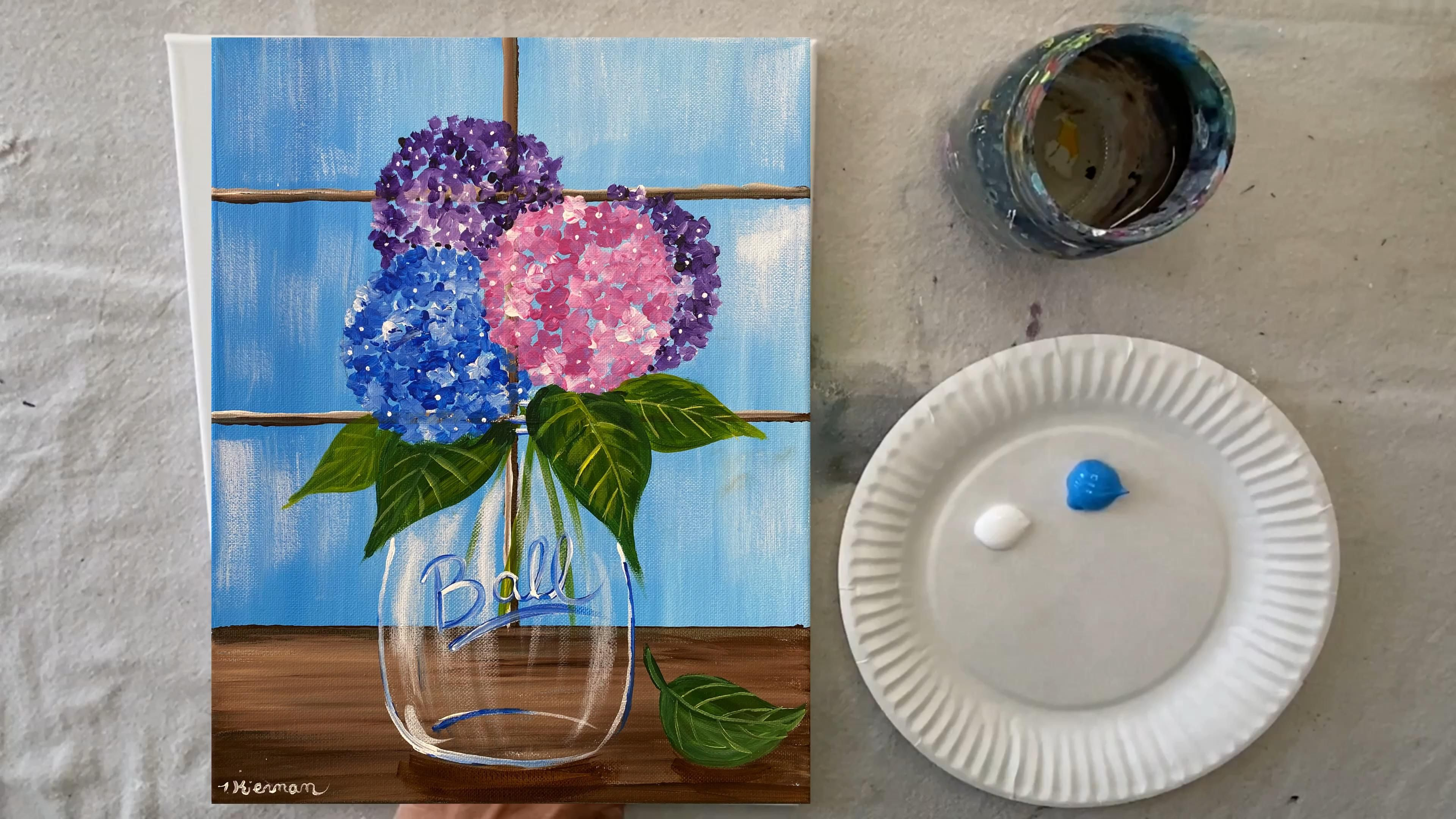 Hydrangea Painting – Step By Step Painting – a little draw