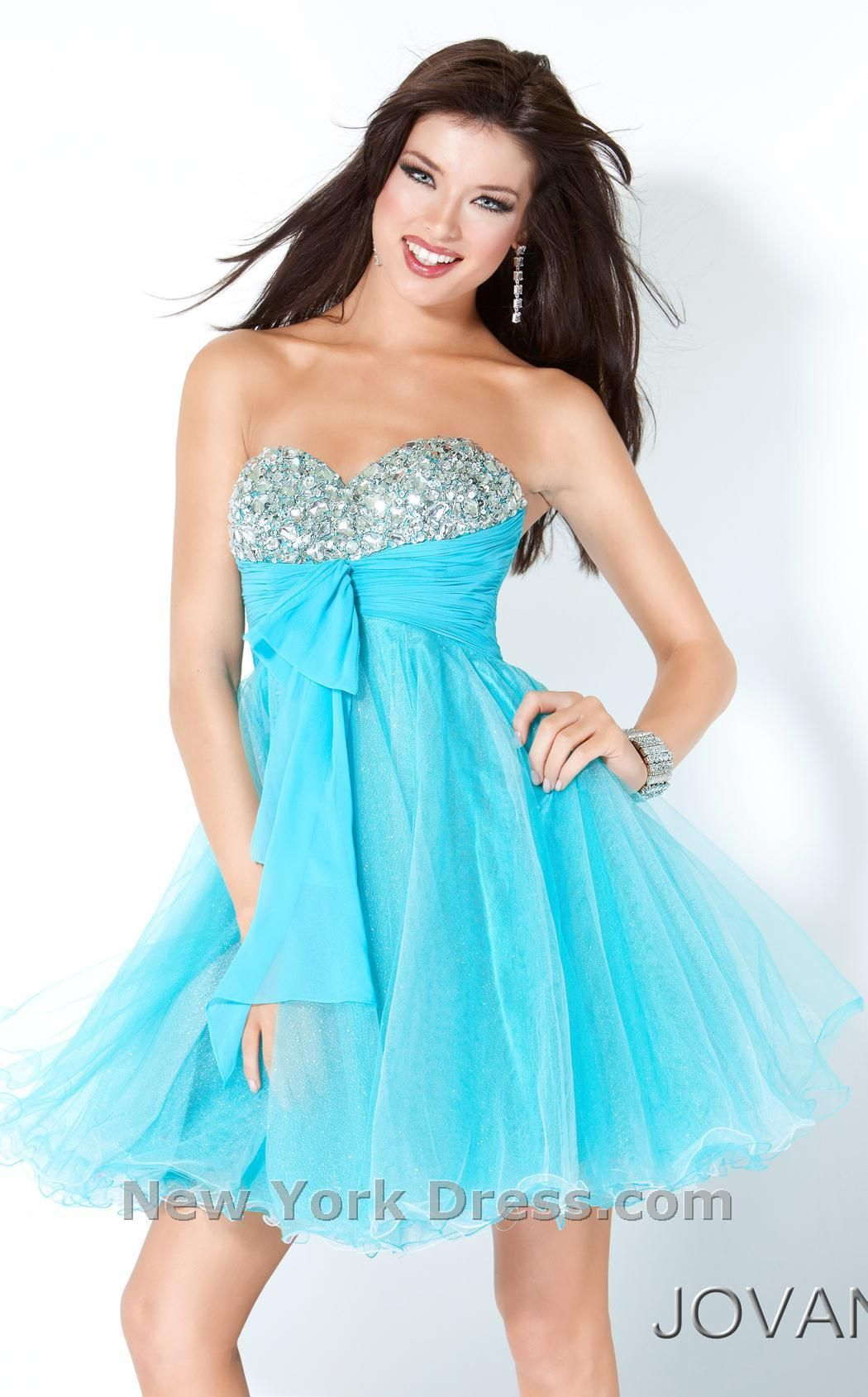 Tiffany blue dress short version of brides maids dress for maid of