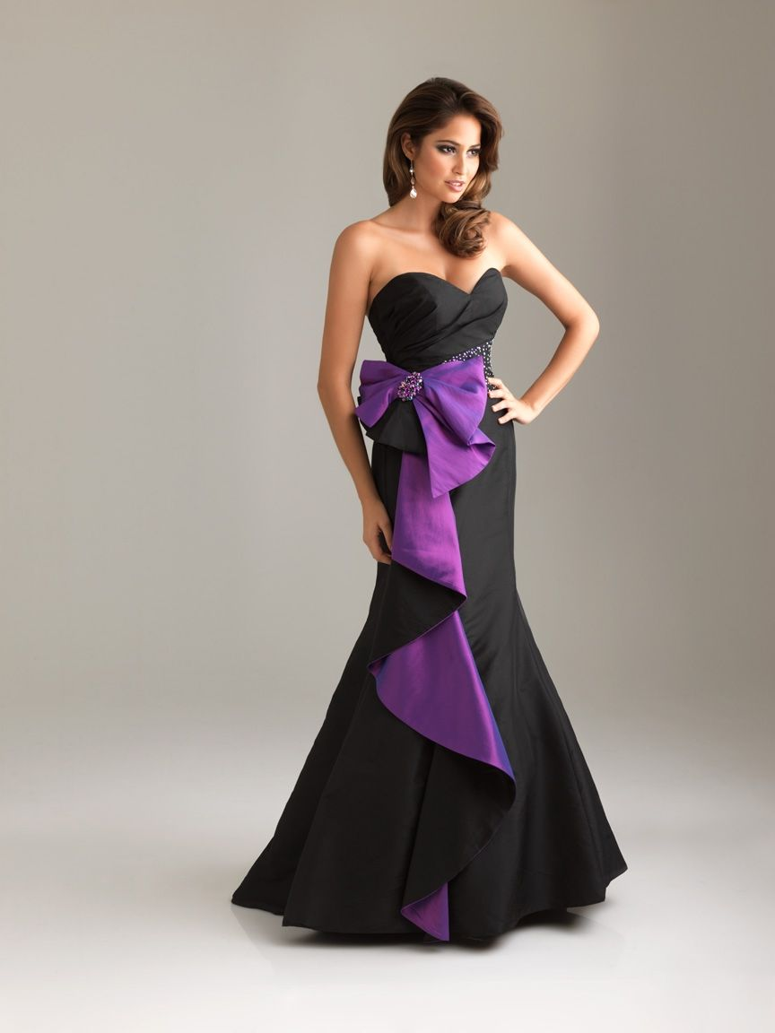 Long strapless black and purple mermaid evening dress from night