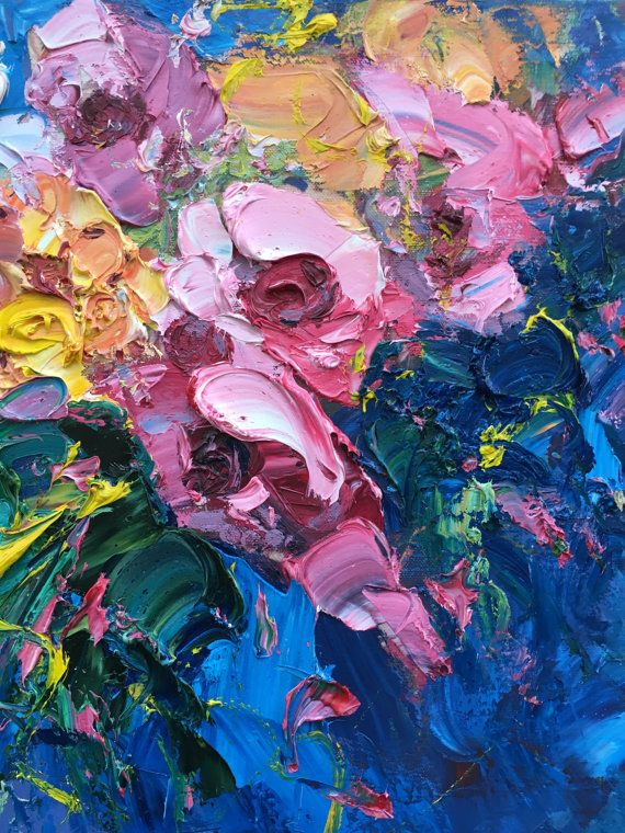 Abstract Flowers Painting Canvas Art Original by AgostinoVeroni