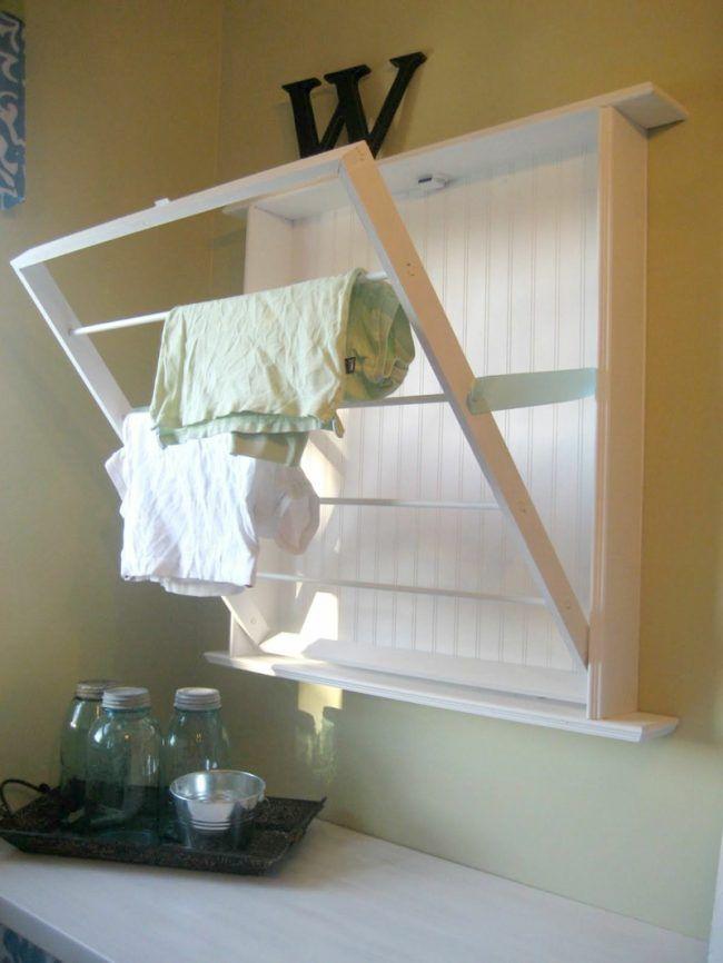 handtuchhalter aus holz klappen idee platzsparend weiss