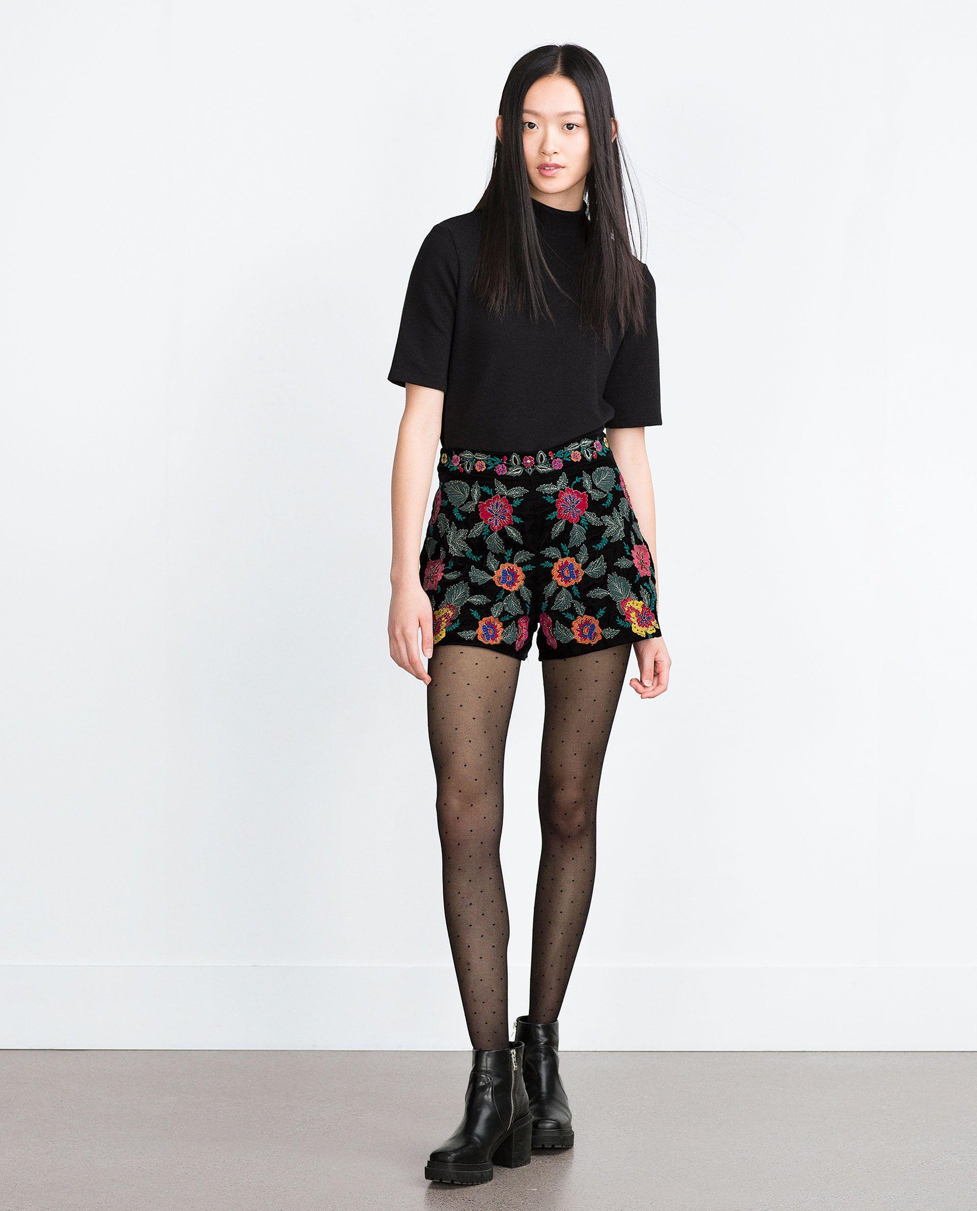 Mujer España 78g6qx Pantalones Terciopelo Zara Shorts Bordado Short UHvXUx