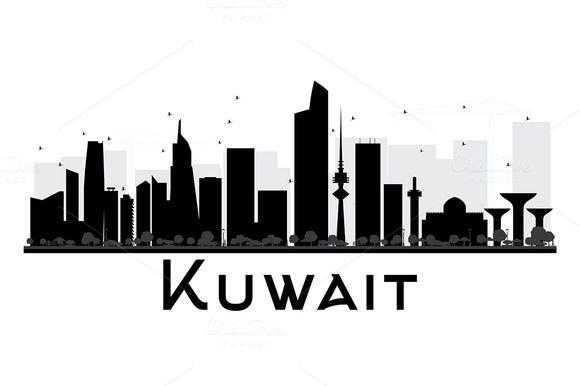 Kuwait City Skyline Silhouette City Skyline Silhouette Kuwait City Kuwait National Day