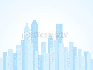 blue City Skyline with skyscraper buildings illustration silhouette