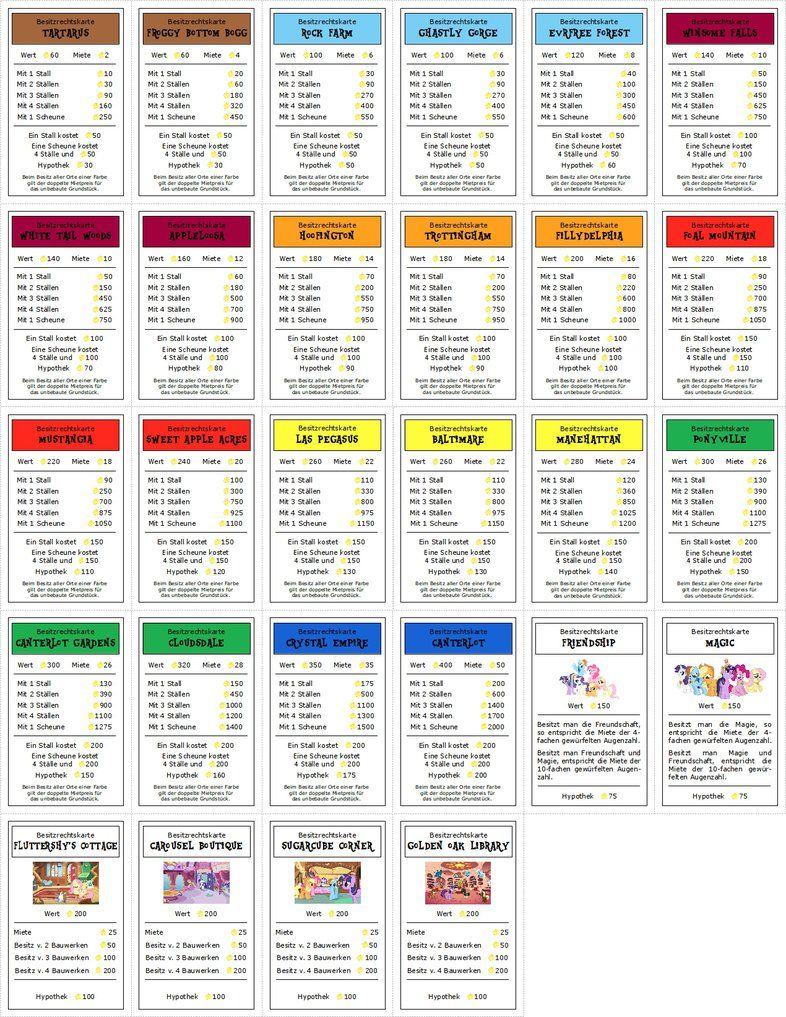 Monopony Deed Cards - Front by silberhase.deviantart.com on ...