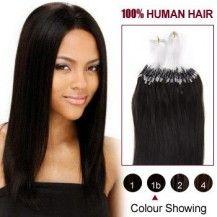 "22"" Natural Black(#1b) 100S Micro Loop Human Hair Extensions 947"