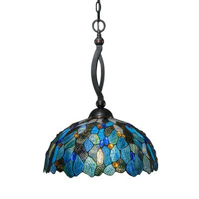 Toltec Lighting 271 Bow Large Pendant with Blue Mosaic Tiffany Glass