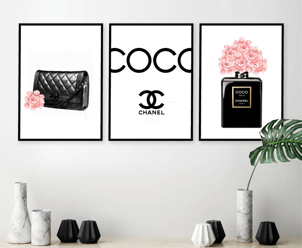 Inspired By Chanel Print Fashion Wall Art Poster Fashion Home Decor Fashion Set Of 3 Perfume Bottle Black Bag Chanel Wall Art Chanel Room Fashion Wall Art