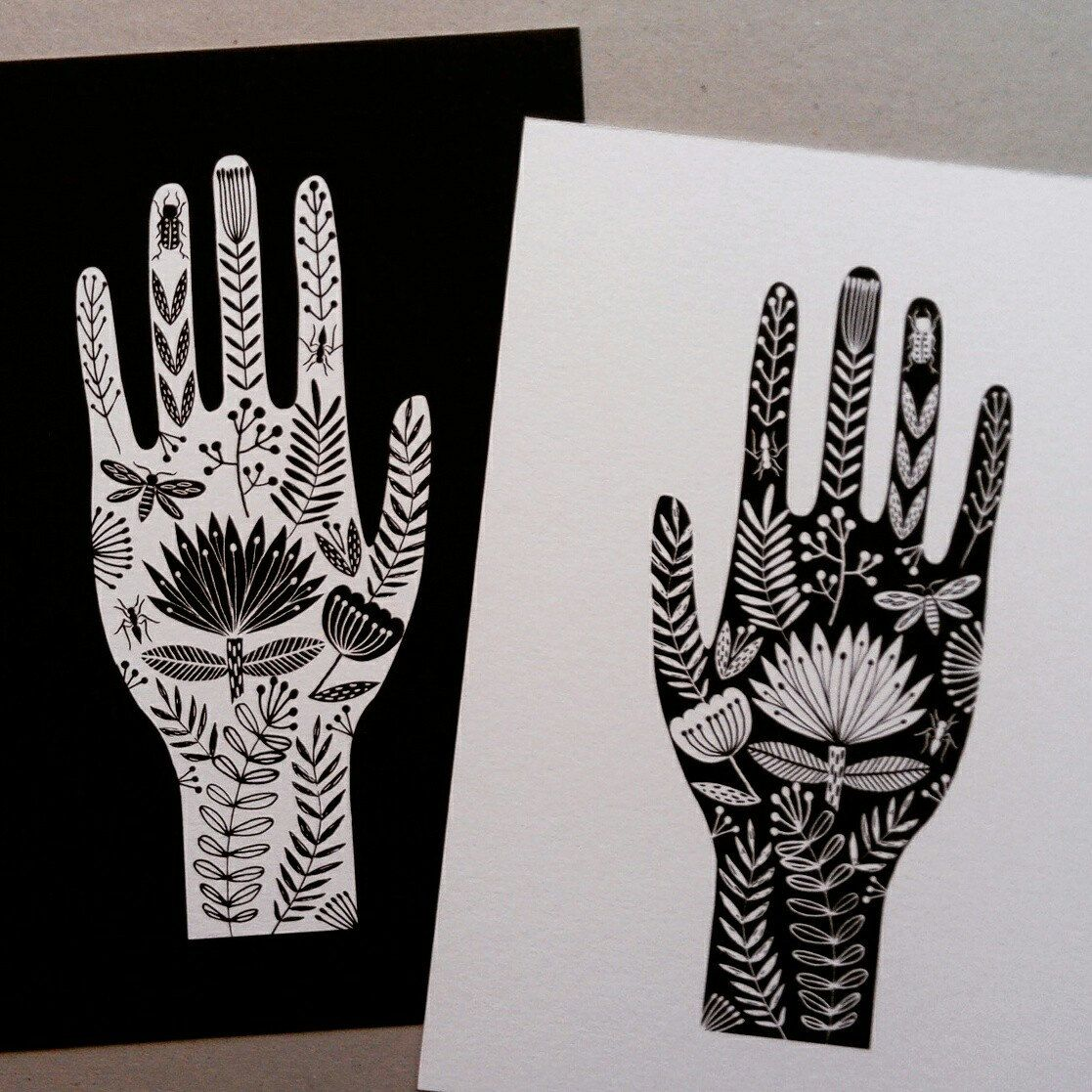 A4 art print detailed hand tattoo style illustration | Etsy