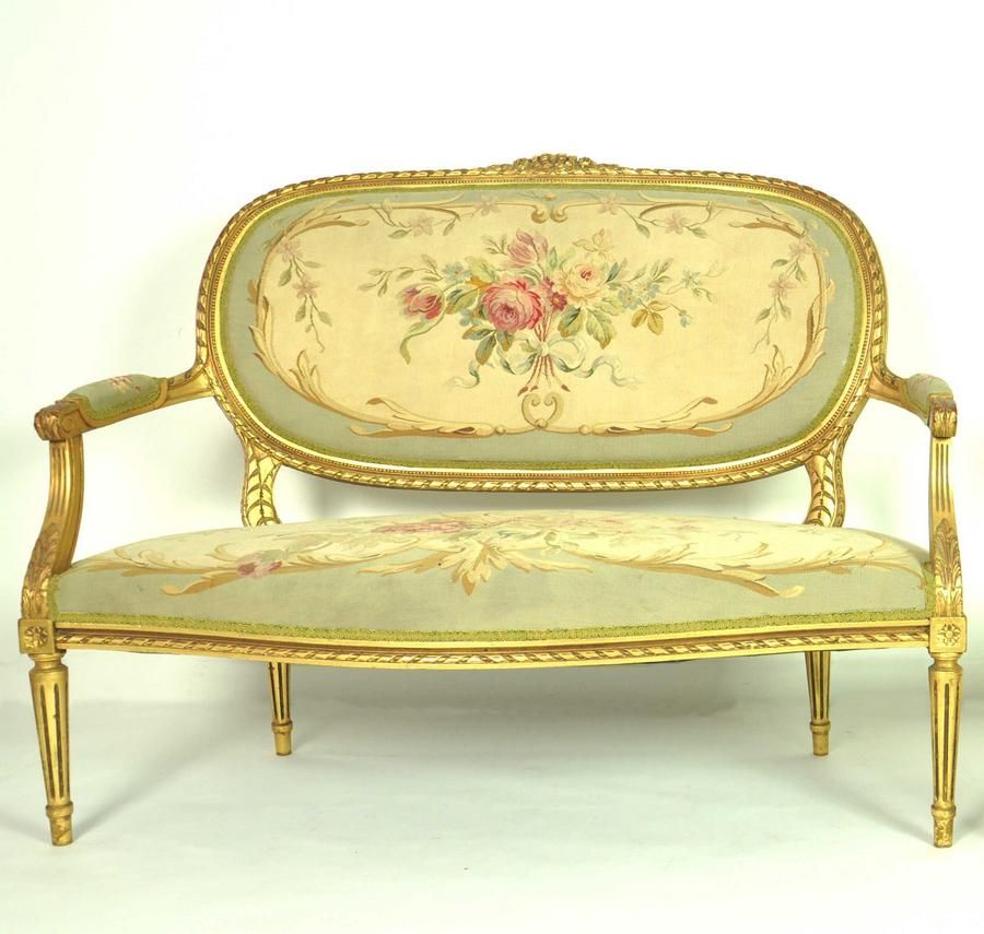 A gilt wood and Aubusson tapestry canape in the Louis XVI style    Seating    Lounges  Settees and Suites   Furniture   Carter s Price Guide  A gilt wood and Aubusson tapestry canape in the Louis XVI style  . Louis Xvi Style Furniture For Sale. Home Design Ideas