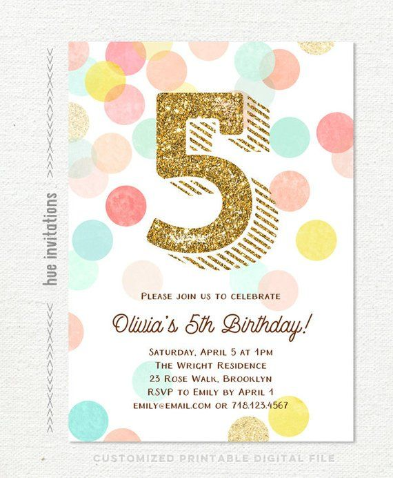 Girls Birthday Invitation 5th Party Printable Invite Gold Glitter Mint Turquoise Pink Pea