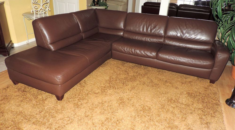 Macys Chocolate Leather Italsofa Two Pc SectionalWE SHIP ANYWHERE