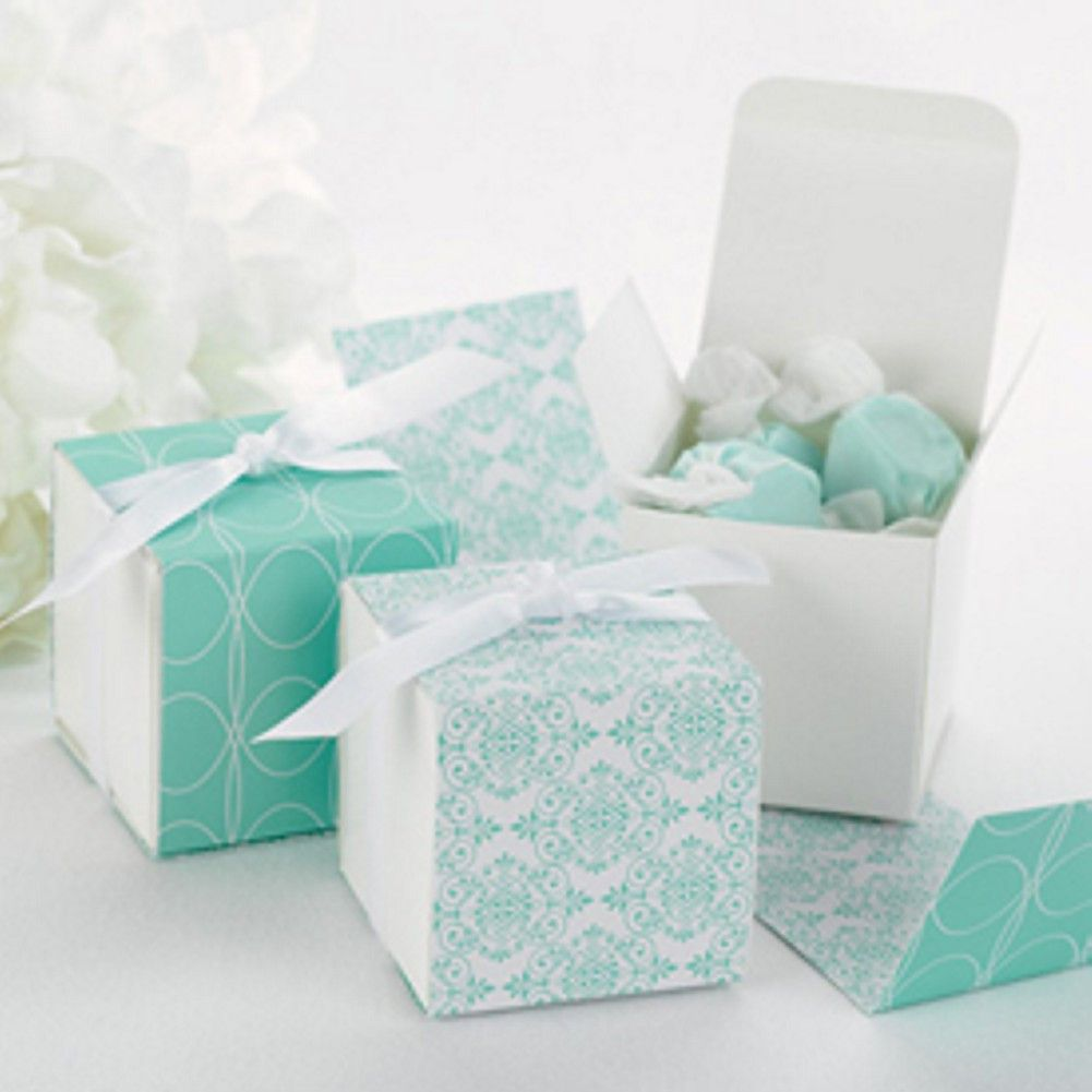 White Favor Boxes with Damask or Geometric Reversible Wraps in Aqua ...