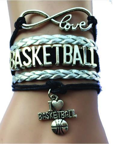 Love Basketball Bracelet Silver Black