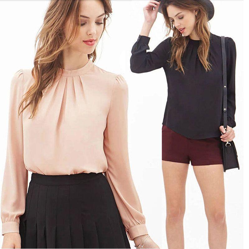2817e99b910 Women Summer Fold Loose Casual Chiffon Long Sleeve Shirt Tops Blouse ...