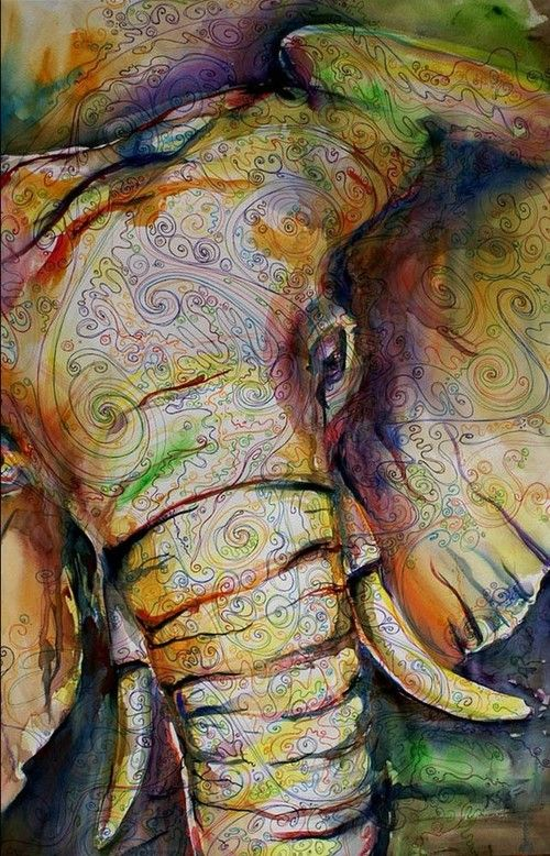 Love this elephant - interesting use of colors and swirly lines and shading - ink and watercolor art